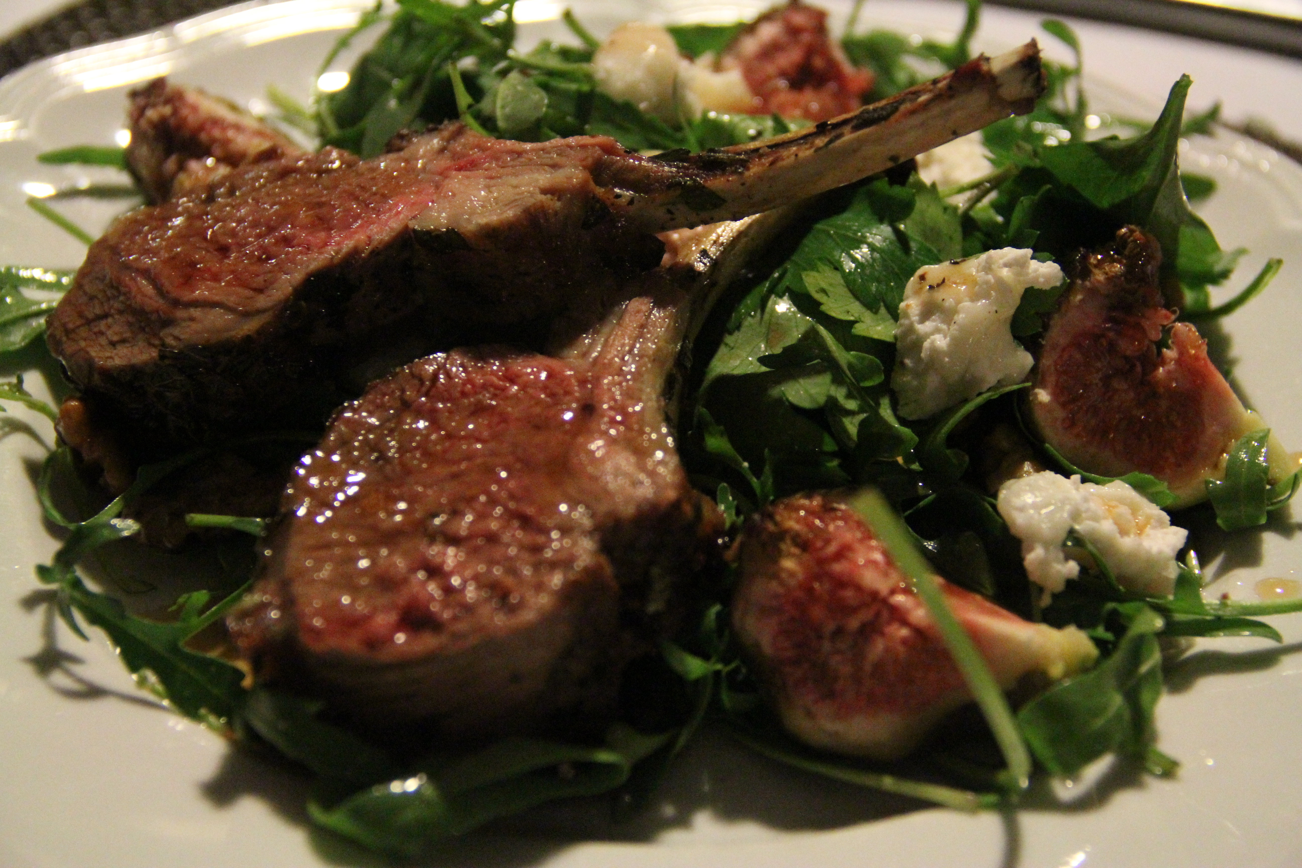 ... lamb with rocket figs goat s cheese and toasted walnut salad