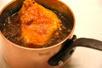 French Onion Soup in Copper Pot