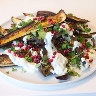 Roasted Eggplant with Cilantro and Pomegranate