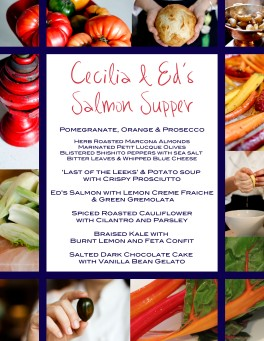 September Menu, Showcasing clients' Line Caught Salmon!