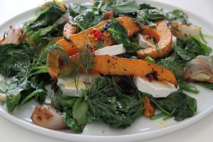 roasted butternut squash with spinach, goats cheese etc