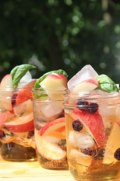 White nectarine and blueberry & Basil Sangria